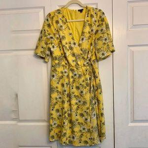 TORRID Yellow Floral Faux Wrap Dress Size 10